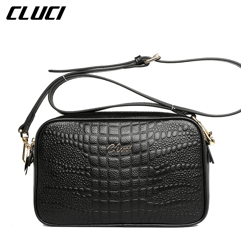 CLUCI Women Shoulder Bags Luxury Fashion Flap Small Black/Red Alligator Pattern Crossbody Bags for Evening Ladies Messenger Bags<br>