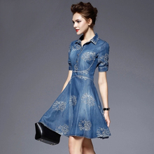 New spring/summer 2017 women elegant fashion dress  embroidered denim casual dress designer plus size women clothing S-5xl