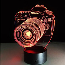 Novelty 3D PMMA Acrylic Entertainment camera illusion LED Lamp USB Table Light RGB Night Light Romantic Bedside Decoration lamp