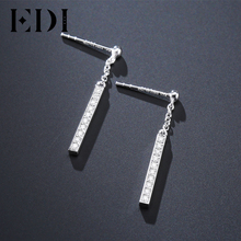 EDI Classic Trendy Moissanite Lab Grown Diamond 925 Sterling Silver Long Drop Earrings For Women Engagement Fine Jewelry(China)