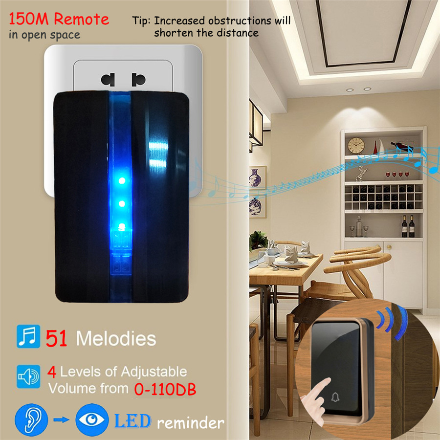 YIFAN 2017 NEW Wireless doorbell NO BATTERY 51 Music 150M Remote Door bell chime EU Plug LED light AC 110-220V 1 2 Button 1 2 receiver 5