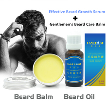 2Pcs Effective Men Beard Hari Growth oil Mustache Serum Thicker Essence & Aftershave for men Beard Balm Mustache Wax for styling(China)