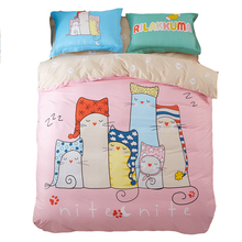 Twin full queen bedding set,100 cotton comforter set,sleeping cats printed comforter,pink comforter bedding/bed sheet/pillowcase