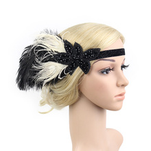Roaring 20s Handmade Beaded Two Tone Black Beige Feather Headband Deco Flapper Party Girl Vintage Headband