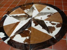 High Quality Cowhide Rug Leather Cow Hide Steer Patchwork Area Round Carpet Cowskin Rugs(China)