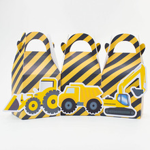 Construction trucks  Favor Box Candy Box Gift Box Cupcake Box Boy Kids Birthday Party Supplies Decoration Event Party Supplies