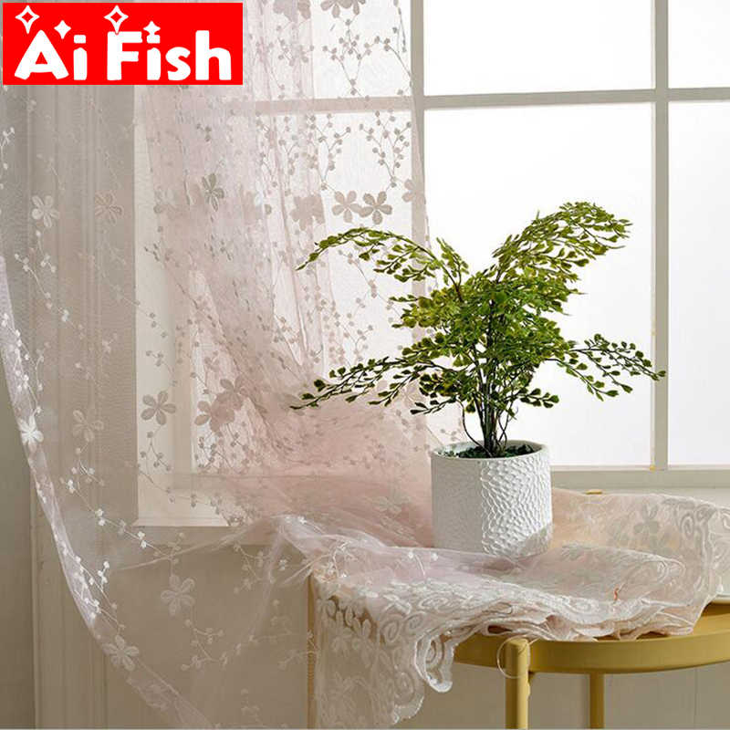 Korean Fresh  White Gypsophila Lace Embroidery Sheer Curtains For the Living Room Customized Floating Window Bedroom AP058-30