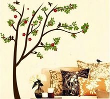 Warm Romantic Red Flower Green Tree DIY Removable Wall Stickers Living Room TV/Sofa Background Mural Decal Wallpaper JM7075