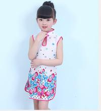 Children's cheongsam summer Tang suit the Chinese national wind cotton dresses of the girls The girl princess dress 2-7T