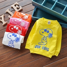 Baby Toddler Kids Boys Girls Tshirts Cotton Cartoon Print Long Sleeve Winter Bottoming Shirts for Height 60-95cm Children G025