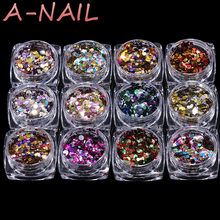 12jars/set  Nail Art Glitter ROUND Shapes Confetti Sequins Acrylic Tips UV Gel B Style 1mm 2mm 3mm Manicure 3D Nail Decoration