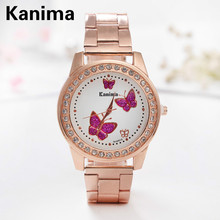 High Quality Luxury Crystal Diamond Watches Women Gold Watch Steel Strip Rose Gold Sparkling Dress Wristwatch Butterfly watch
