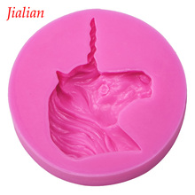 Jialian Unicorn soap silicone mold chocolate fudge cake decoration tools baking utensils FT-0364