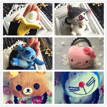 Cute 3-7CM Approx. Lilo Stitch , Hello Kitty , TOTORO Etc. Mini Plush Stuffed Toy Doll ; Lady Girl's gift hair tie Plush Toys