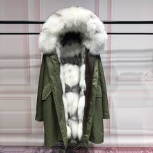 Fashion Real Silver Fox Fur Liner winter jacket women army green parka coat raccoon fur collar hooded parkas thick outerwear - One & Leather City store