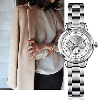 Sinobi mulheres de aço moda relógios de pulso das mulheres de luxo da marca genebra relógio de quartzo senhoras relógio de pulso relojes mujer 2017 saatler