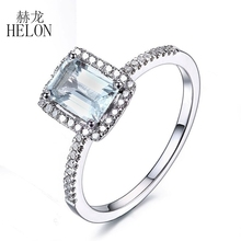 HELON Solid 14K White Gold Emerald 7x5mm Aquamarine & Natural Diamond Jewelry Wedding Engagement Fine Ring Women's Fashion Ring
