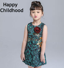 2016 Summer Brand 3D Rose Girls Dresses 3-13Y Flower Kids Dresses for girls 1pc Green Girls Clothes sleeveless children dress