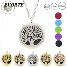With chain as gift! Tree of life magnetic 316L stainless steel aromatherapy pendants 20mm 25mm 30mm diffuser locket necklace