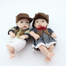 "2pc Couple 11"" Mini Boy and Girl Doll Kits Lifelike Reborn Baby Twins Cowboy Cosplay Vinyl Toys Decorations Wedding Gifts"