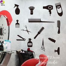 Hair Tools 13 of Set Wall Window Sticker Hair Nail Barber Manicure Spa Shop Wall Decal Decor Vinyl Decor DIY Outdoor Interior(China)