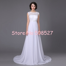 New Stock Vestido De Novia US Size 4-22 White/Ivory Chiffon A-line Wedding Dress Robe De Mariage Beading Pearl Lace Bridal Gowns
