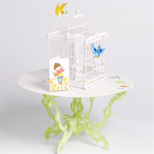 3D Pop Up Greeting Card Birdcage Birthday Valentine Father Children Mother's Day  Christmas greeting card