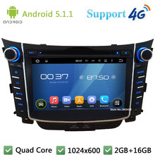 "Quad Core 7"" HD 1024*600 2DIN Android 5.1.1 Car DVD Player Radio PC USB BT FM DAB+ 3G/4G WIFI GPS Map For Hyundai I30 2011-2016"