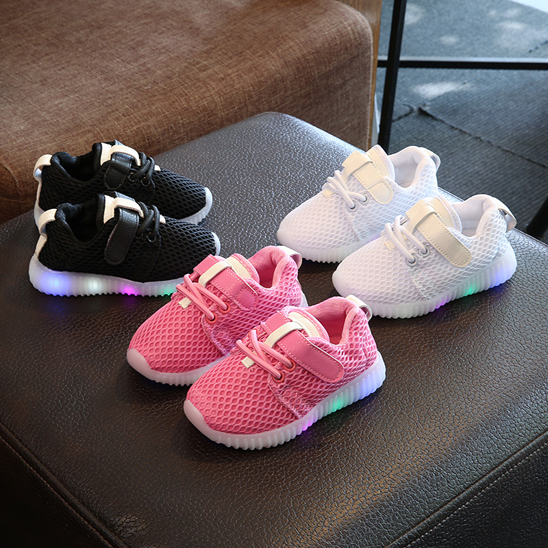 2017 solid color sports running glowing sneakers mesh cute baby kids shoes hot sales children casual girls boys shoes