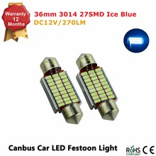 Festoon 3014 SMD 2PC 36MM Car LED Bulbs Festoon Interior Dome Lights auto roof lamp Ice Blue 12V hot selling