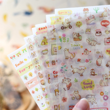 6 pcs Kawaii Korean Cat Diary Stickers Diary Decoration Scrapbooking Stickers For Mobile Phone Notebook Stationery Post It Decal(China)