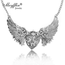 2017 Fashion Statement Necklaces & Pendants Vintage Gold/Silver Carving Heart Crystal Necklace Angles Wings Choker Collares