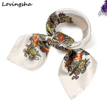 LOVINGSHA 60*60cm Ladies Silk Scarf Wraps Satin Square Vintage Design Europe Style Scarf Printed Women Imitated Silk Scarf SC024(China)