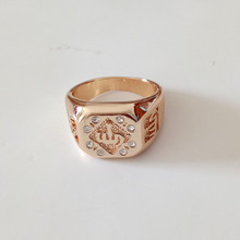 2pcs/lot New Fashion Muslim Jewelry Unisex Big Size Cubic Zirconia Rose Gold Color Traditional Muslim Allah Ring