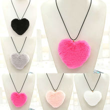 New Fashion Long Rope Leather Pink/Gray/Rose Faux Fur Heart Pendant Necklace Women Bohemia Handmade Jewelry Christmas Party Gift(China)