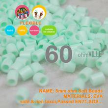 Hot Sale!!! 5mm Soft Flexible Ohm Beads ( Powder Blue Id:60 ) 90 Colors For Choose Hama Beads Activity + Free Shipping(China)