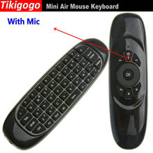 Tikigogo C120 Russia fly air mouse with Voice 2.4G mini Wireless Keyboard remote controller for Android Smart TV Box PC(China)