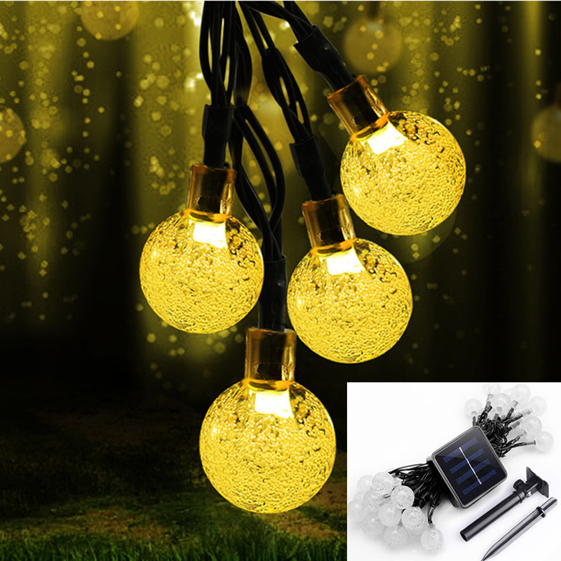 30LEDs Solar Lamp Crystal Ball LED String Light 6M Waterproof luz solar Charge Fairy Garland For Outdoor Garden Christmas Party