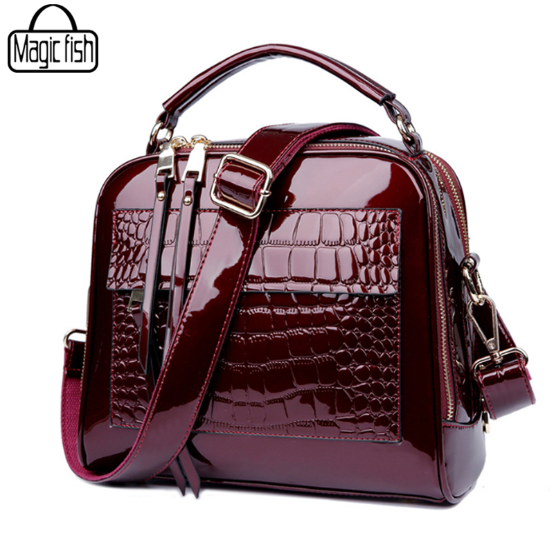 Elegant Patent Leather Women Handbag Women Shoulder Bags Classy High Quality Women Leather Handbags Tote Female Women Bag A197/l<br>