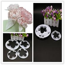 Bigger Peony Petals Cutter, 4pcs/set Gum Paste Flowers Cake Decorating Cutter Fondant Mold Sugar Tools E015(China)