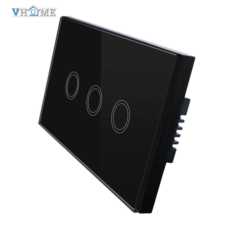 Vhome Hot Trending US/AU Standard 220v Touch Switch Wall Switch 3 Gang 1 Way Black Waterproof Glass Panels Switch For Smart Home<br><br>Aliexpress