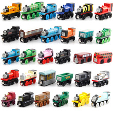 EFHH 10PCS Wooden Magnetic Thomas Train Action Figure Toys Set Random Mixed Style for Kids(China)