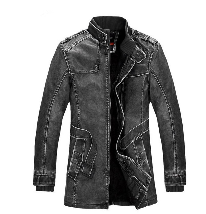 TUOLUNIU Hot High quality winter men's coat warm jacket Retro men's leather jacket Plus velvet motorcycle windproof PU leather