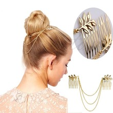 Womens Personality Golden Tone Leaf Hair Cuff Chain Comb Headband Hair Band Hot
