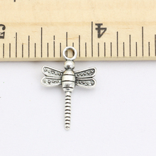 40pcs Antique Silver Plated Insect Dragonfly Charms Beads Pendants for Jewelry Making DIY Handmade 21x14mm D206