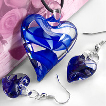 6Sets/Lot Heart Blue Murano Lampwork Glass Bead Pendant Earrings CHIC