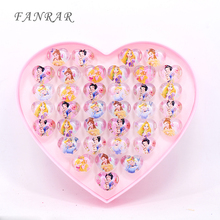 Wholesale Jewelry Accessories china 2017 New Arrival 36pcs Cute Mix Cartoon Snow Queen Girls Belle Princess Children Kids Rings(China)