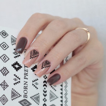 1 Sheet BORN PRETTY Tribal Geo Pattern Nail Sticker Water Decals Triangle Diamond Shape Nail Transfer Sticker BPY05