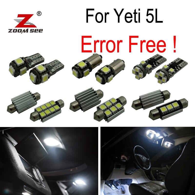 19pcs license plate lamp LED bulb Interior dome Light Kit for Skoda Yeti 5L SUV  (2009+)<br>