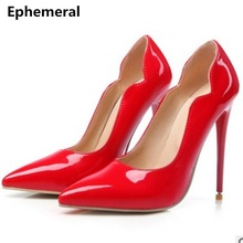 Ladies high heeled shoes sexy heel red wedding shoes woman pointed toe pumps patent leather stilettos night club size 14 15 16